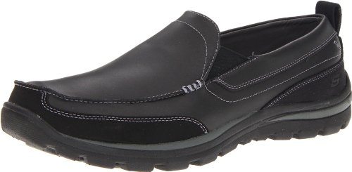 Skechers Men's Superior Gains Slip-On,Black,7.5 M US