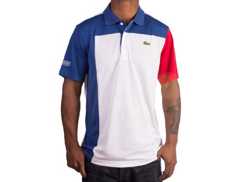 Superdry Colorblock Polo: White/Night Blue-Bright Cherry Red (Size M / EUR5)