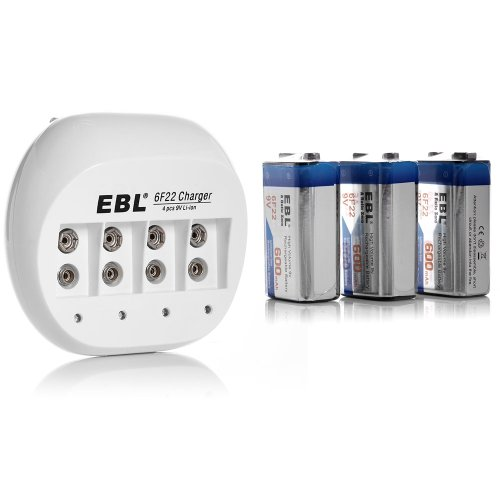 Ebl® 855A 4 Bay 9V Li-Ion Battery Charger With 3 Pack 600Mah 9 Volt 6F22 Low Self-Discharge Lithium-Ion Rechargeable Batteries