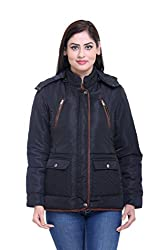 Trufit Full Sleeves Solid Women's Black Quilted Medium Length Removable Hood Polyester Parka Jacket