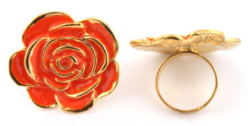 Ladies Orange Flower Shape Metal Adjustable Finger Ring