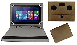 ACM PORTABLE 360 DEGREE ROTATING ROTATE MUSIC SPEAKER & LEATHER FLIP COVER FOR NOKIA LUMIA 2520 TABLET CASE HOLDER COVER STAND - GOLDEN