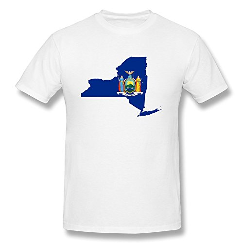 Qincent Fashion Mens Screw Neck Shirt/Flag Map Of New York