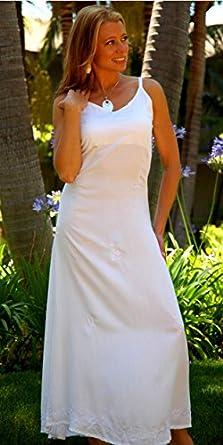 1 World Sarongs Womens Long White Summer Dress - XX-Small