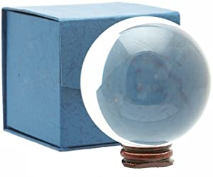 Large Clear Crystal Glass Ball Includes Blue Gift Box (D11 cm)