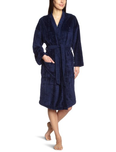 Tommy Hilfiger Damen Bademantel Bella Fluffy Bathrobe / 1487902286, Gr. 40 (L), Blau (409 Peacoat)