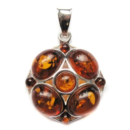 Amber and Sterling Silver New Medium Pendant