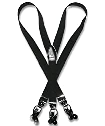 Vesuvio Napoli Mens Y-Back Button & Clip Convertible Suspenders (Black)