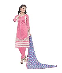 Kush Collection Women's Chanderi Pink straight Unstitched Dress Material