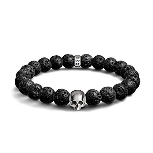 Lava e argento sterling 925Skull Bracciale di perline-perline da 8mm, con-braccialetto elastico per uomini e donne, design unico e realizzato nel Regno Unito, Argento, colore: argento, cod. BR-8-Lava-Logo-Skull-S