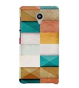 PrintVisa Color Block Pattern 3D Hard Polycarbonate Designer Back Case Cover for Meizu M2 Note