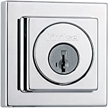 Kwikset 993 Square Contemporary Single Cylinder Deadbolt featuring SmartKey® in Satin Nickel