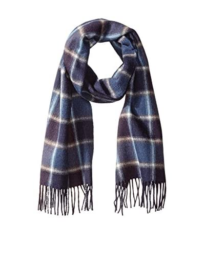 Amicale Men's Buffalo Solid Double Face Scarf, Navy
