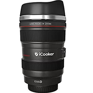 iCooker® Coffee Mug - Camera Lens Thermos Travel Mugs for Men & Women - Model 1:1 Canon EF 24-105mm F/4L IS USM Lens - Latest Generation Refreshments With Drinking & Quality Stainless Steel Insulated - Best for Morning - Cool Personalized Photo Plastic M
