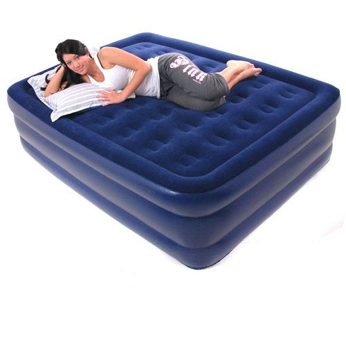 Smart Air Beds Queen Raised Deluxe Flock Top Air Bed Blue   Black