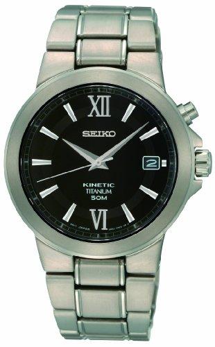 Seiko Gents Black Dial Titanium Bracelet Dress Watch SKA483P1