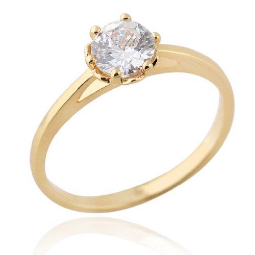C-Princessリング 指輪 18K金メッキ コーティング ラインストーン レディース 女性 アクセサリー ウェディング エンゲージリング 誕生日 華やか (15, イエローゴールド)