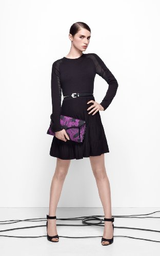 Knit With Sheer Sleeve Dress