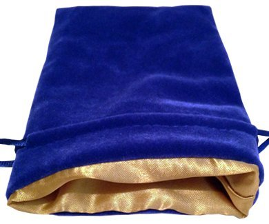 "Luxury Velvet Dice Bags with Satin Lining: 4""x6"" Blue Velvet Dice Bag with Gold Satin Lining - 1"