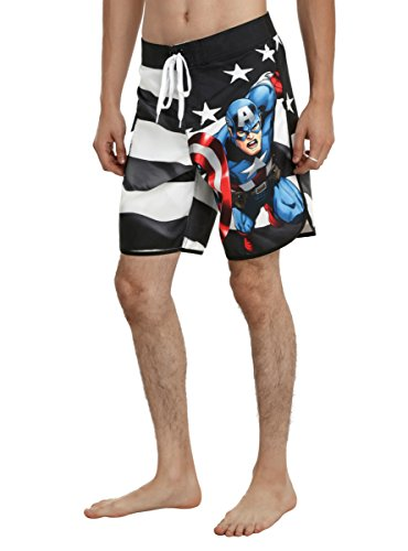 TRUNK CAPTAIN AMERICA BLK/WHT (Men Swim Trunks Captain America compare prices)