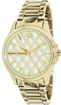 Armani Exchange Gold Quilted Gold Ion-plated Ladies Watch AX5201