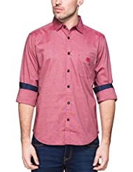 Zovi Men's Cotton Slim Fit Red Solid Casual Shirt With Pocket (12019106801)