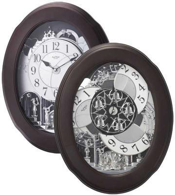 Rhythm Magic Motion Musical Clock - Nostalgia Espresso - (Marko Fiber Cloth Incl.)