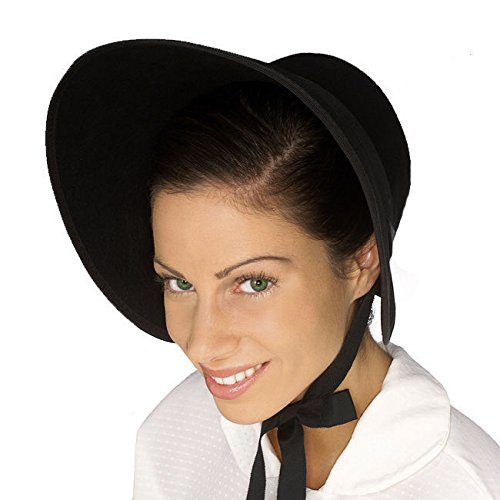 [Black Felt Colonial Pilgrim Ladies Hat Amish Mennonite Quaker Costume Bonnet New] (Quaker Costumes)