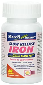 Mason Vitamins Slow Release Iron Compare to The Active Ingredients In Slow Fe, 60 Tablets (Pack of 3)