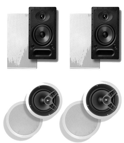 Polk Audio 65 Rt 2-Way In-Wall Speaker (Pair) Plus A Polk Audio Mc60 In-Ceiling Speaker (Pair)