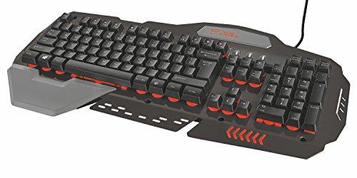 Trust GXT 850 Tastiera da Gioco con Layout Integrale, Illuminazione a LED e Piastra Superiore in Metallo