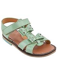 Little Feet Girls' Leather Green Sandals
