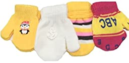 Four Pairs Microfiber Lined Magic Mittens Infants Ages 0-6 Months