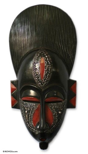 NOVICA Decorative Large Ghanaian Wood Mask, Black, 'In Silence'