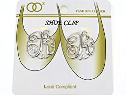 Silvertone Letter R Initial Monogram Style Shoe Clip (Gift Box Included)