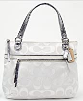 Hot Sale Coach Poppy Metallic Signature Sateen Glam Bag Tote Silver