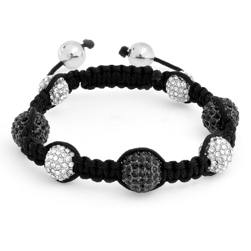 Bling Jewelry Black and White Cyber Shamballa Inspired Bracelet Crystal Bead Unisex 10mm