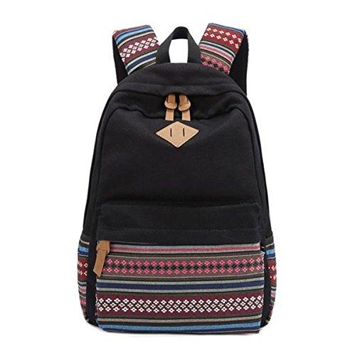 vintage-aztec-tribal-unisex-canvas-backpack-rucksack-laptop-school-bags-travel-weekend-bag-0-black