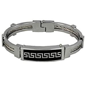 Stainless Steel Greek Key Twist Wire Cuff Bracelet
