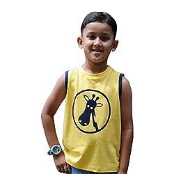 Snowflakes Boys' Yellow Sleeveless Tshirt with Giraffe Print
