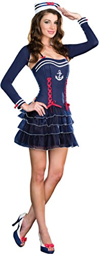 Dreamgirl Womens Surf City Sweetie Navy Sailor Outfit Fancy Dress Sexy Costume