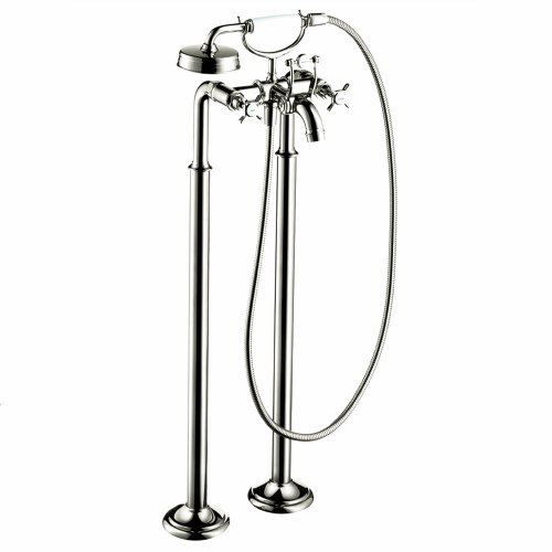 Axor 16547831 Montreux Free Standing Tub Filler Trim with Cross Handle, Polished Nickel (Hansgrohe Freestanding Tub Filler compare prices)