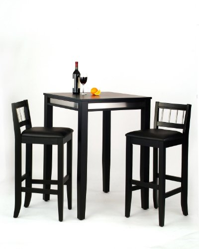 Manhattan Black Pub Table And Two Stools front-1028016