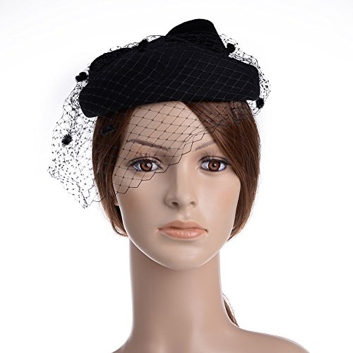 Vbiger Women's Fascinator Wool Felt Pillbox Hat Cocktail Party Wedding Bow Veil (Black)