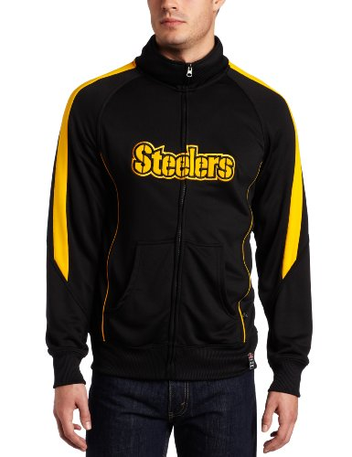 NFL Men's Pittsburgh Steelers Tailgate Time Track Long Sleeve Full Zip Track Jacket (Black/Gold, Medium) at Amazon.com