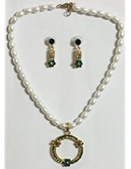 White Pearl Bead Necklace With Green Stone Studded Pendant And Earrings - Synthetic Pearl