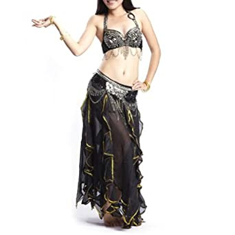 BellyLady Gypsy Black Belly Dance Costume, Tribal Bra and Lotus Leaf Skirt Set