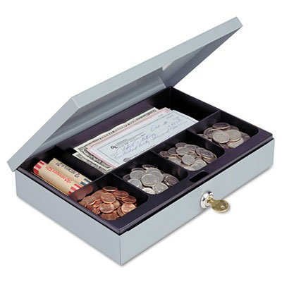 Heavy-Duty Steel Low-Profile Cash Box w/6 Compartments, Key Lock, Gray, Sold as 1 Each (Steelmaster Low Profile Cash Box compare prices)