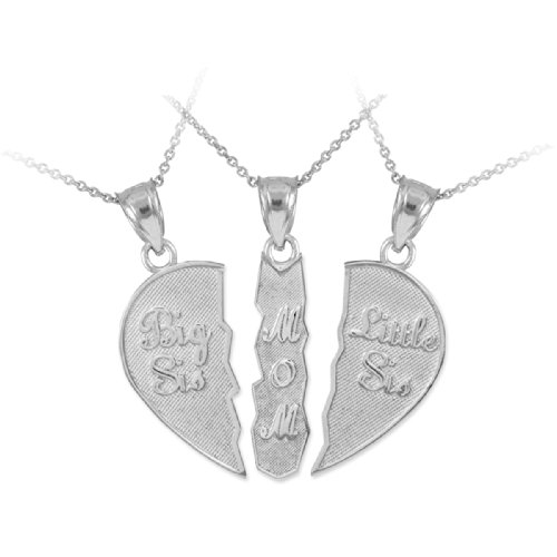Personalized Sterling Silver Mom and Daughters Custom 3-Piece Breakable Heart Necklace (16