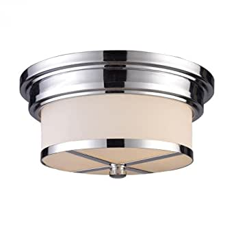 Two Light Polished Chrome Drum Shade Flush Mount Ceiling